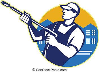 driva, tvagning, tryck, vatten blaster, arbetare