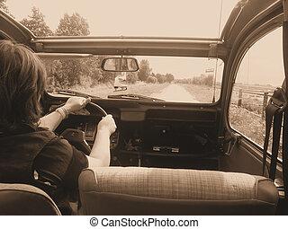drivande, en, gammal, bil