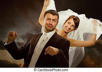 drivande, par, brudgum, brud, cykel, ha, inbilla sig, bröllop, fun., le