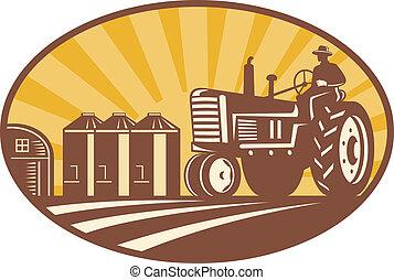 drivande, träsnitt, årgång, retro, bonde, traktor