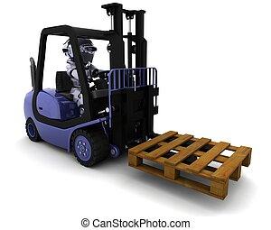 drivande transportera, robot, hiss