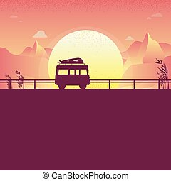 drive a van Road background sunset silhouettes on the beach and sea. Mountain. Vector. Illustrator