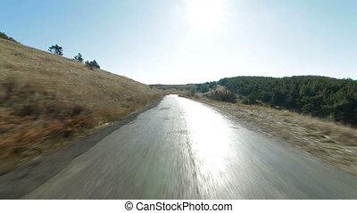 Driving along the mountain road. Ai-Petri, Crimea, Ukraine