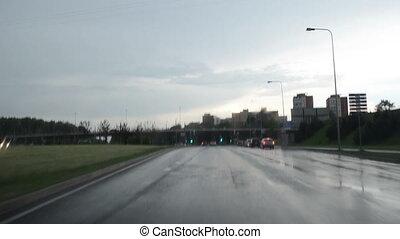 drive car rain crossroad - Driving car on rainy heavy day...