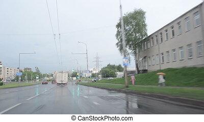 drive car rain crossroad - Driving cars on rainny road...