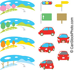 drive, car, scenery, four seasons, set, vector file
