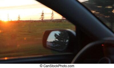 drive., coucher soleil
