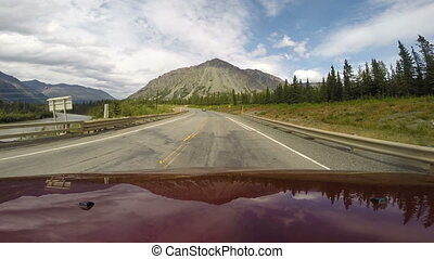 Drive Down Two Lane Highway Alaska Mountains North America -...