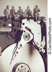 drive., géant, concept, ouvriers, dur, coupure, construction, technologie, sommet