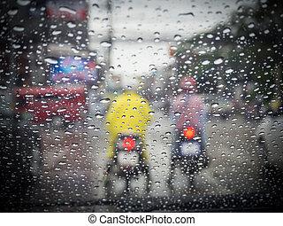 Drive in a rainy day, Rain drops on windshield car