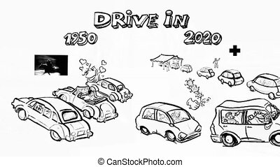 Drive in difference 2020 1950 covid19 hand draw animation