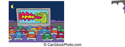 Drive-In Movie Theater cartoon scene of people in their cars...