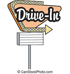 Drive In Sign Clip Art Graphic - Drive in sign, car hop or ...