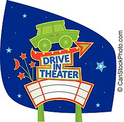 Drive In Theater Sign - Cute sign with car, arrow, blank...