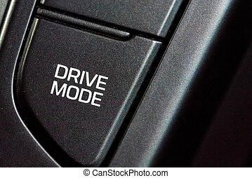 Drive mode button in modern car close