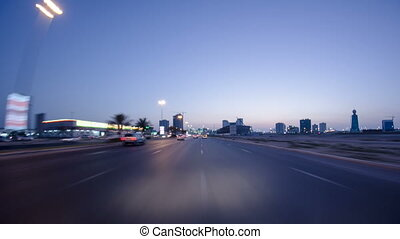 Drive on the streets of Ajman timelapse hyperlapse. Ajman is...