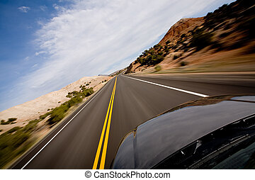 drive through the Bighorn Canyon in Northern Wyoming, motion...
