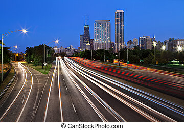drive., rivage, lac, chicago