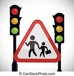 Drive Safety - People crossing the street design, vector...