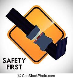 Drive Safety - road sign of fasten belt design, vector...