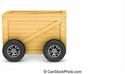 drive shipping cargo box with wheel on white background....