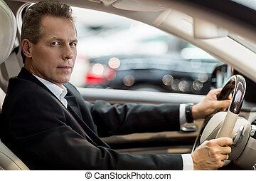 drive., sitzen, auto, formalwear, schauen, sicher, fotoapperat, älter, ansicht, seite, mann