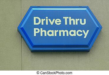 Drive Thru Pharmacy Sign.