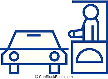 Drive thru restaurant line icon concept. Drive thru restaurant flat vector symbol, sign, outline illustration.