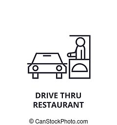 drive thru restaurant line icon, outline sign, linear symbol, vector, flat illustration
