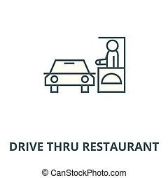 Drive thru restaurant line icon, vector. Drive thru restaurant outline sign, concept symbol, flat illustration