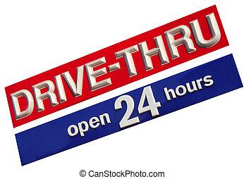 Drive Thru 24 Hrs illustration of a business establishment