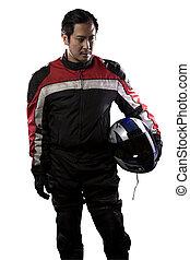 driver automobile corsa, o, motocicletta, motociclista,...
