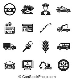Driver Black White Icons Set
