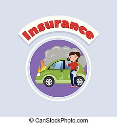 Driver calling for help after car accident, car insurance concept vector Illustration, cartoon style