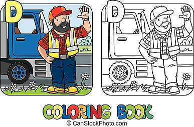 Driver coloring book. Profession ABC. Alphabet D - Coloring...