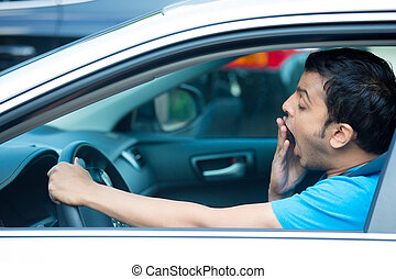 Driver fatigue - Closeup portrait tired young funny man in...