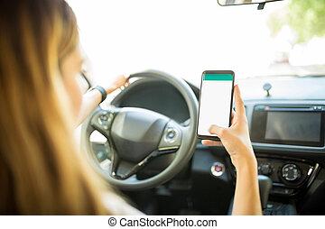Driver finding shortest route for destination