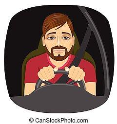 driver, guida, maschio, sonnolento, mentre, fare pisolino fuori