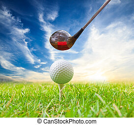 driver hit golf ball on tee