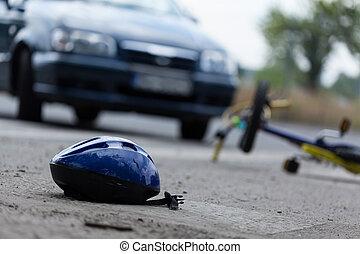 Driver hitting biker on the street, horizontal