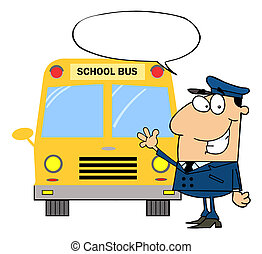 Driver In Front of School Bus