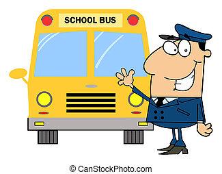 Driver In Front of School Bus - Friendly Caucasian School...
