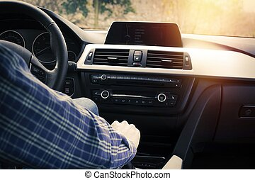 driver inside the car, gearshift