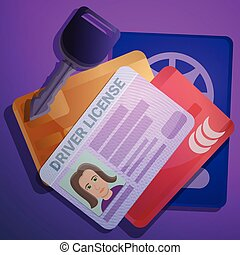 Driver license document concept background, cartoon style