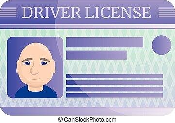 Driver license icon, cartoon style