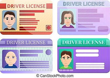 Driver license icons set, cartoon style