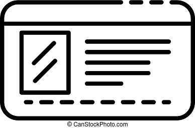 Driver license id icon, outline style