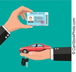 Driver license in hand and sedan car with keys