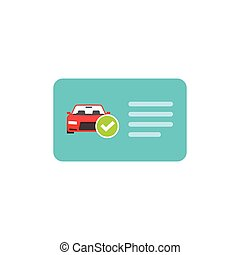 Driver license vector icon, card with car and green checkmark