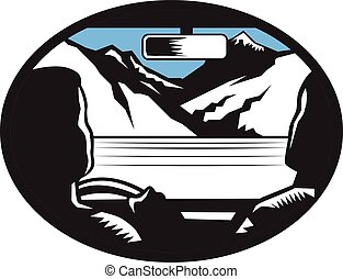 Driver Looking Up Mountain Car Windshield Oval Woodcut